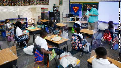 Students inside a classroom during the first day of classes at a private school in North Miami Beach, Florida on  Aug. 18.