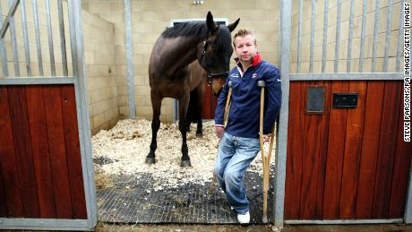 Great Britain Para-Equestrian Dressage athlete Lee Pearson with his late horse, Gentleman.