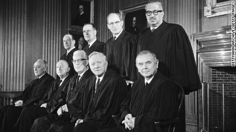 The Warren Court. Thurgood Marshall, top right, wrote a withering dissent in the 1983 case City of Los Angeles v. Lyons.