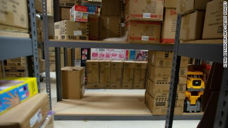 Empty shelves are seen at Mary Arnold Toys on August 2, 2021.