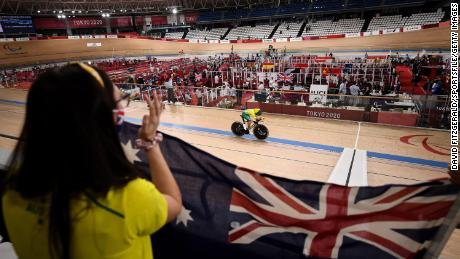Paige Greco of Australia competes in the C1-3 3000m Individual Pursuit qualifier at the Izu velodrome on Day 1 during the 2020 Tokyo Summer Paralympic Games in Shizuoka, Japan.