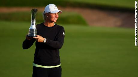 Nordqvist poses with the Women's Open trophy at Carnoustie.