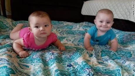 Rileigh and Ryan Rigney, 7-month-old twins, were swept away in Saturday's flooding.