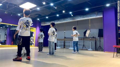 The Panda Boys during rehearsal, in a photo posted on their official Weibo account on May 16.