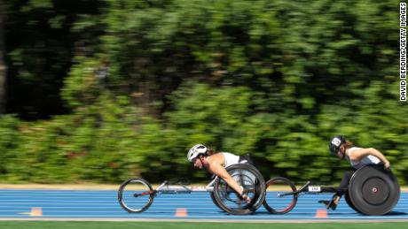 McFadden competes in the Women's 5,000m Run T53/54 Wheelchair final during the 2021 US Paralympic Trials.