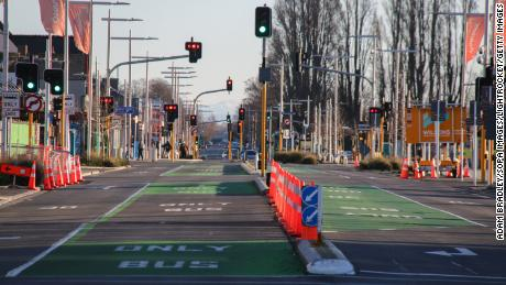Manchester Street in central Christchurch is pictured deserted during the lockdown.