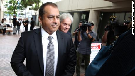"""Former Theranos COO Ramesh """"Sunny' Balwani leaves the Robert F. Peckham U.S. Federal Court on June 28, 2019 in San Jose, California. Former Theranos CEO Elizabeth Holmes and former COO Ramesh Balwani were apperaing in federal court for a status hearing, both facing charges of conspiracy and wire fraud for allegedly engaging in a multimillion-dollar scheme to defraud investors with the Theranos blood testing lab services."""