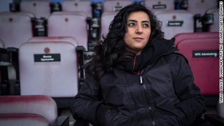 Former Afghanistan women's football captain Khalida Popal (pictured) and Carter formed an emergency coalition to help evacuate Afghan athletes, officials and their family members from the country to Australia.
