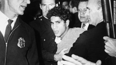 Sirhan Sirhan is led away from the Ambassador Hotel after the shooting of Sen. Robert F. Kennedy