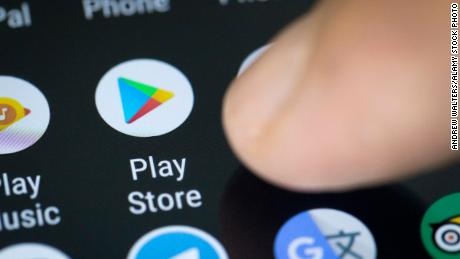 A Google Play store icon seen on a smartphone screen.