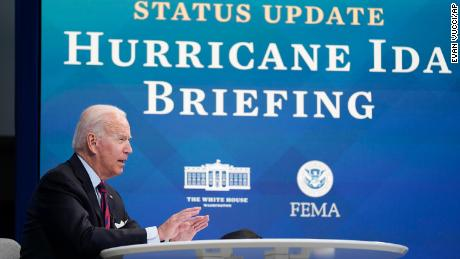 President Joe Biden speaks during a virtual meeting with FEMA Administrator Deanne Criswell and governors and mayors of areas impacted by Hurricane Ida, in the South Court Auditorium on the White House campus, Monday, Aug. 30, 2021, in Washington.