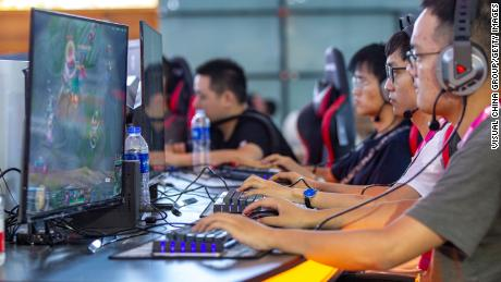 People playing online games one day before the China Digital Entertainment Expo & Conference at the Shanghai New International Expo Center on Aug. 1, 2019.