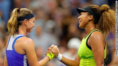 Naomi Osaka beat Marie Bouzkova in straight sets.