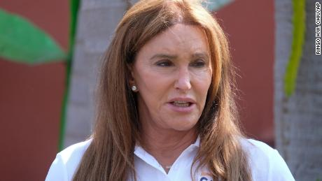 Caitlyn Jenner, a Republican candidate for California governor, speaks during a news conference in the Venice Beach section of Los Angeles, Thursday, August 12, 2021.