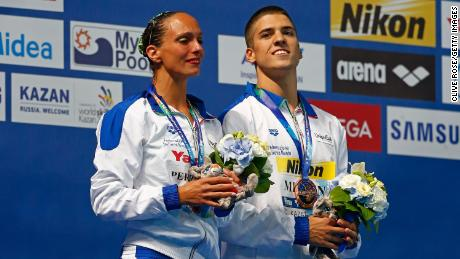 In an industry where male artistic swimmers are facing homophobia and prejudice, Minisini hopes to strive for change. He represented Italy at the 2015 World Aquatics Championships in Kazan, Russia, when men were finally allowed to compete internationally, and claimed two bronze medals, including one in the mixed duet free with Mariangela Perrupato (left).
