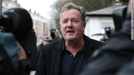 Piers Morgan speaks to reporters outside his home in Kensington, central London, the morning after it was announced by broadcaster ITV that he was leaving as a host of Good Morning Britain.