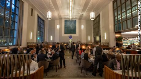 The dining room at Eleven Madison Park on the night it reopened, June 10, 2021.
