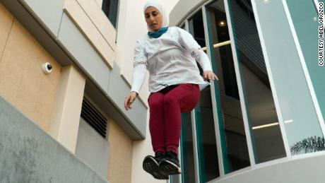 Having grown up playing sports, Los Angeles native Sara Mudallal began practicing parkour when she was 20.