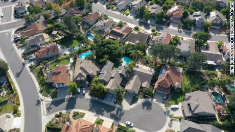 Single-family homes are seen in this aerial photograph taken over San Diego, California, on Sept. 1, 2020.
