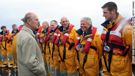 Prince Philip with members of the RNLI in 2008.