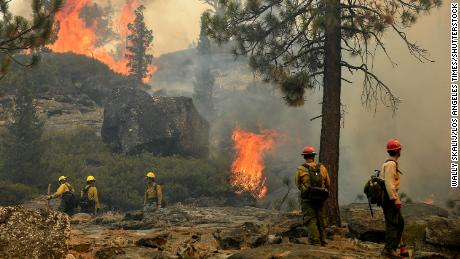 Firefighters try to control a back fire to help battle the Caldor Fire near Lake Tahoe on September 2, 2021.
