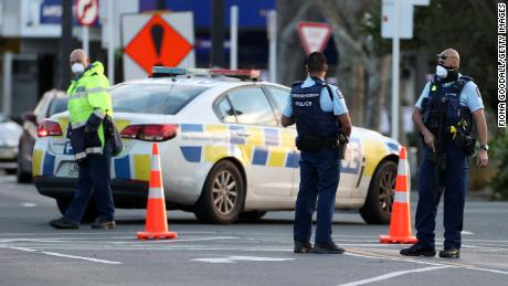 Police guard the area around Countdown LynnMall where a violent extremist reportedly stabbed six people before being shot by police on September 03 in Auckland, New Zealand.
