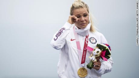 A tearful Masters receives her time trial gold medal at the Tokyo Paralympics.