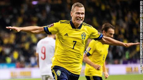 Claesson celebrates Sweden's second goal.