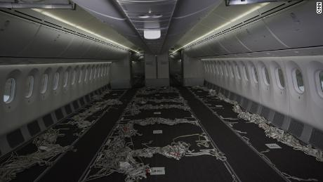 The inside of Kenya Airways cargo-converted Boeing 787 Dreamliner at Jomo Kenyatta International Airport, Nairobi, Kenya, on July 6.