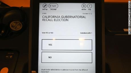 Voting machines for use in the recall election are seen at the Los Angeles County Registrar-Recorder/County Clerk office last month.