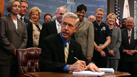 With union representives standing behind him, then-California Gov. Gray Davis signs the state budget in 2003.