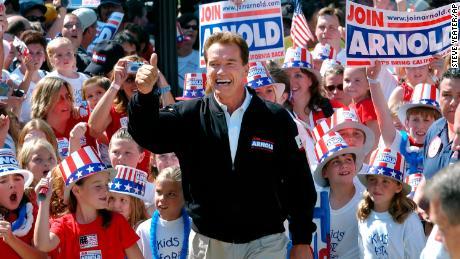 Schwarzenegger campaigns in Sacramento in 2003.