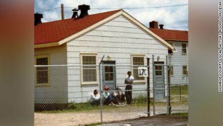 A photo from the archives of the Monroe County Local History Room & Museum in Sparta, Wisconsin, shows Cuban refugees and the Fort McCoy Cuban Resettlement Center in 1980.