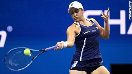 Australia's Ashleigh Barty in action during her women's singles match against Shelby Rogers at the 2021 US Open, Saturday, in New York.