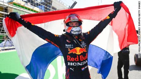 Verstappen celebrates victory on home soil.