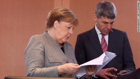 German Federal Chancellor Angela Merkel and her then foreign policy advisor Jan Hecker on January 15, 2020 in Berlin, Germany.