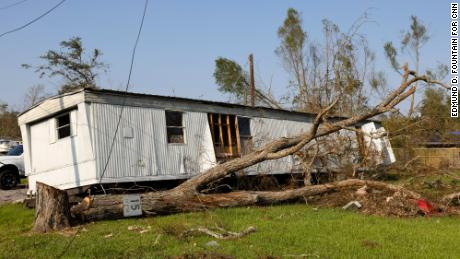 A damaged trailer is seen in Reserve, Louisiana, a town in St. John the Baptist Parish.