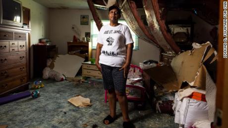 Sharon Lavigne's home was heavily damaged by Hurricane Ida.