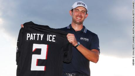 """Cantlay received an Atlanta Falcons jersey with his nickname """"Patty Ice"""" on the back."""