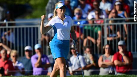 Europe's Matilda Castren celebrates after her win on the 18th hole against Salas.