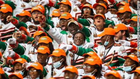 Members of the Marching 100 hype up the crowd during the Orange Blossom Classic game between the Florida A&M Rattlers and the Jackson State Tigers on Sunday September 5th, 2021.