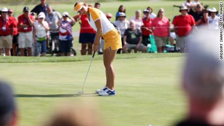 Pedersen putts on the 12th hole during the fourball match on day two of the Solheim Cup.