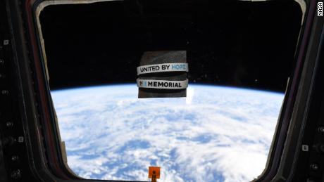 Cassidy took a photo of a piece of steel and wristbands from the 9/11 museum while on the space station.