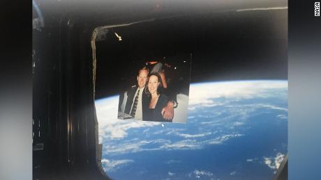 This photo of Chad and his wife Lisa was sent to the space station.