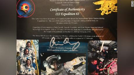 The Keller family received this signed certificate to mark Cassidy's space station mission.
