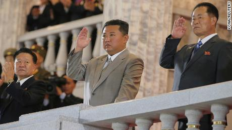 North Korean leader Kim Jong Un (center) is taking part in a parade to celebrate the 73rd anniversary of the Republic of Pyongyang.  This undated image was provided by North Korea's Korean Central News Agency on September 9.