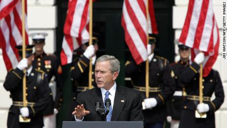 Then-US President George W. Bush speaks in Washington during the 9/11 Heroes Medal of Valor Ceremony on September 9, 2005, honoring the public safety officers who gave their lives during the attacks.