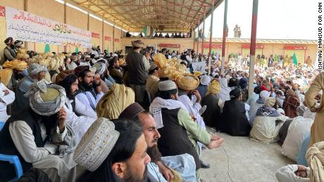 Large, all-male crowds at a Taliban gathering in Paktika province.