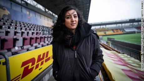 Former Afghanistan women's football captain Khalida Popal poses for a photographer at Farum Park stadium.