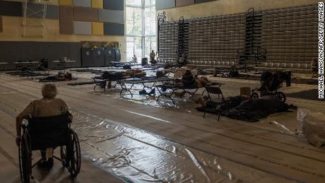 Residents spend the afternoon at a cooling center at Kellogg Middle School in Portland, Oregon, during an August heat wave.